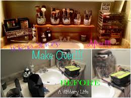 makeup collection storage and organization bathroom make over