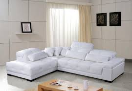Modern Sectional Leather Sofas White Tufted Leather Modern Sectional Sofa W Wooden Legs