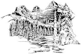 detailed nature landscape coloring pages adults mountain