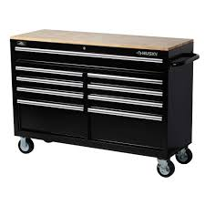 Work Table With Stainless Steel Top 49 by Husky 52 In W 9 Drawer Mobile Work Bench Black 75809ahr The