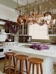 Kitchen Island With Hanging Pot Rack Pot Rack Kitchen Island Traditional Kitchen Michael S Smith