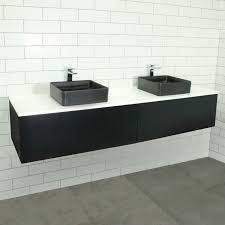 Bathroom Wall Hung Vanities Eden Matte Black Wall Mount Vanity Cabinet Without Top 1800mm