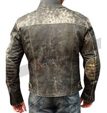 motorcycle suit mens antique black distressed retro biker jacket