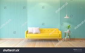 blue modern room interior yellow sofa stock illustration 553472881