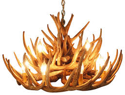 12 light faux antler rustic whitetail cascade chandelier rustic