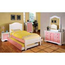 White Twin Trundle Bedroom Set Product Acme 30265f Cecilie 5 Pcs Pink Cherry Kids Full Trundle