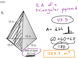 showme surface area of a triangular pyramid sa u003db 1 2pl