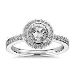 bezel set engagement rings bezel set halo pavé diamond engagement ring in platinum 1 2 ct
