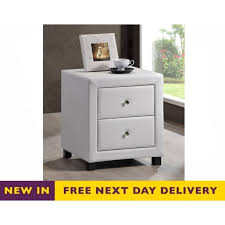 two drawer bedside table cheapest chel2drwht chelsea two drawer white faux leather bedside