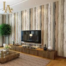 mediterranean vintage 3d textured wood striped wallpaper bedroom