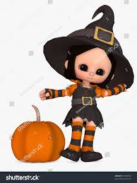 3d illustration of scary little in witch halloween costume