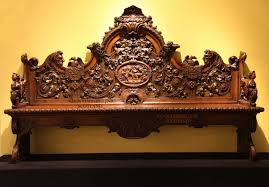 a rare very decorative oak hall bench beautiful carved after a
