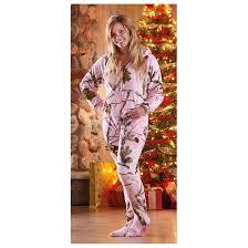 women u0027s realtree midnight fleece onesie pajamas