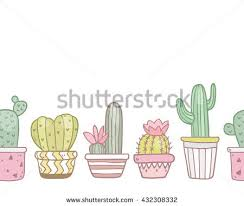 cute succulent flowers funny pots vector stock vector 411142363