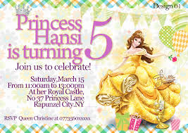 personalise disney princess belle party invitations thank you cards