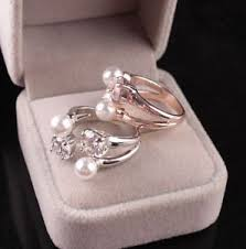 s day rings fashion open adjustable ring zircon pearls rings gifts for