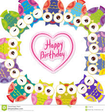 happy birthday funny colorful owls on white stock vector image