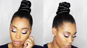 how to ninja top knot bun with braiding hair step by step