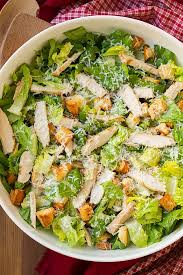 chicken caesar salad with garlic croutons and light caesar