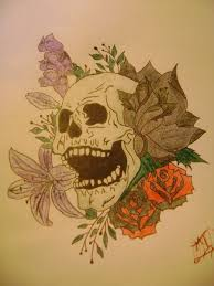 collection of 25 flowers with skull tattoos