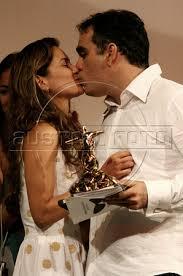 Brazilian director Sergio Machado kisses Brazilian actress Alice Braga reacts after receiving awards for best fiction australfoto   SmugMug