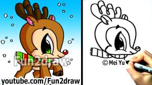how to draw christmas stuff how to draw a reindeer cute and