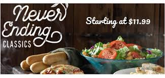 olive garden never ending classics for 11 99 southern savers