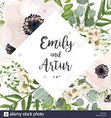 vector floral wedding invite card design eucalyptus silver dollar