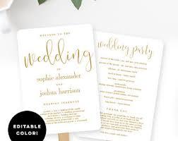 flat wedding programs wedding program fan etsy