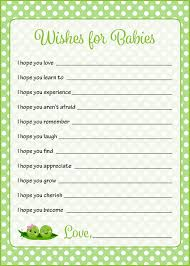 wishes for baby cards wishes for baby shower activity peas in a pod baby shower theme