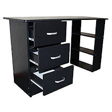 Computer Desk With Drawers Redstone Black Computer Desk 3 Drawers 3 Shelves Home Office