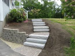 walkway retaining wall granite steps and brick headwall