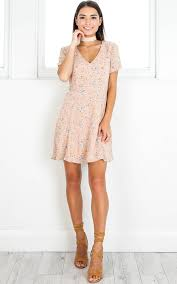 party dress casual party dress in blush floral showpo