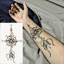 one piece compass tattoo 1 pieces compass arrows hot black white large flower henna temporary
