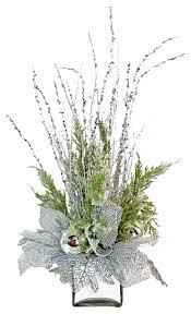 silver silk floral arrangement eclectic artificial flower