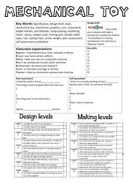 design brief a level mechanical toy cover sheet by memms teaching resources tes