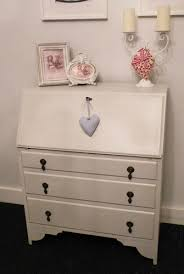 shabby chic vintage antique solid oak writing bureau painted in