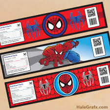 printable spider man water bottle labels