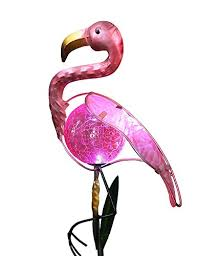 pink flamingo patio lights bright zeal 8 tall metal pink flamingo led solar stake lights