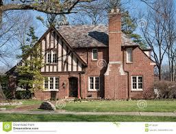 old brick english tudor house with slate roof stock photo image