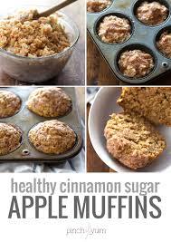 healthy cinnamon sugar apple muffins recipe pinch of yum