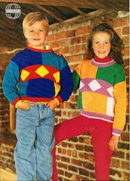 childrens multi coloured shapes sweater knitting pattern pdf