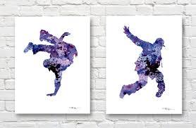 set of 2 hip hop dancer art prints watercolor painting zoom