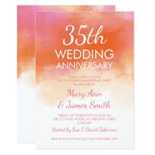 35 wedding anniversary 35th coral wedding anniversary cards invitations zazzle co uk