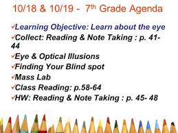 Finding Your Blind Spot In Your Eye 10 23 U0026 10 Th Grade Agenda Collect Reading U0026 Note Taking P