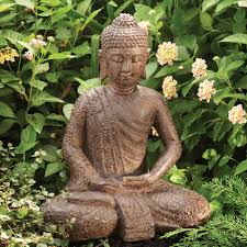 statue with garden buddha statue with lotus robe dharmacrafts