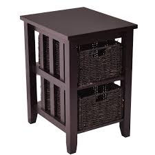 Sofa End Tables With Storage by Wooden Sofa End Side Table With 2 Storage Baskets Coffee Tables