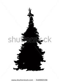 sign decor christmas tree painted silhouette isolated on stock vector