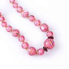 pink beads necklace images Barozzi pink bead necklace made of murano glass jpg
