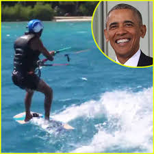 barack obama wipes out while kitesurfing with richard branson